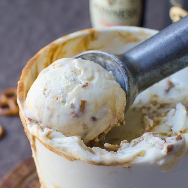 Stout Caramel Pretzel Ice Cream with ice cream scooper.