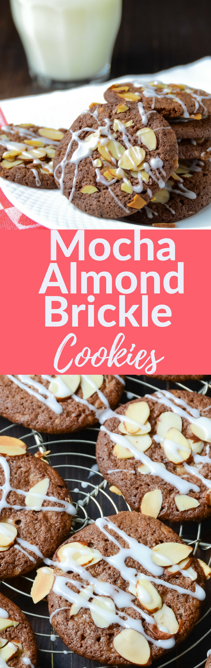Need a simple chocolate cookie recipe: Mocha Almond Brickle Cookies are chocolatey and crispy with a bit o' brickle, sliced almonds and a drizzle of glaze.