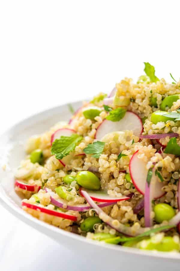 closeup view of the edamame quinoa salad.