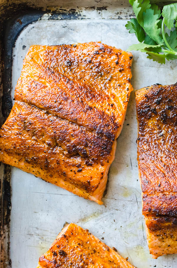 Gorgeous Asian salmon recipe with spice crust on a sheet pan.