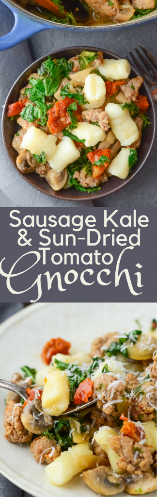 This easy recipe is great for a weeknight family dinner. Sausage Kale and Sun-Dried Tomato Gnocchi is flavorful Italian-inspired comfort food.