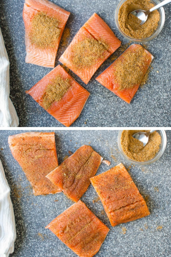 Adding spice blend to cut fillets of salmon.