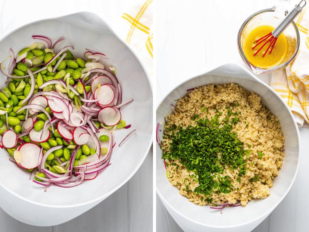 assembling the quinoa edamame and radish salad.