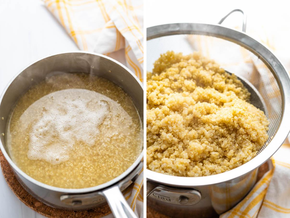 cooking and steaming the quinoa for the simple side dish.