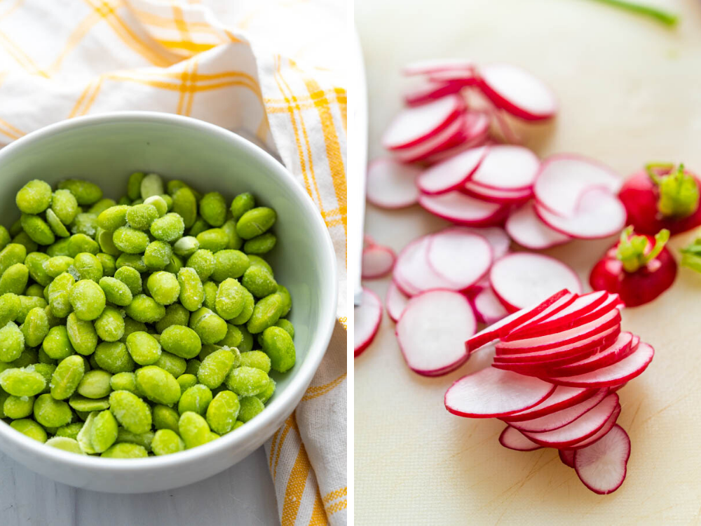 defrosting edamame and slicing radishes for quinoa side dish with citrus vinaigrette.