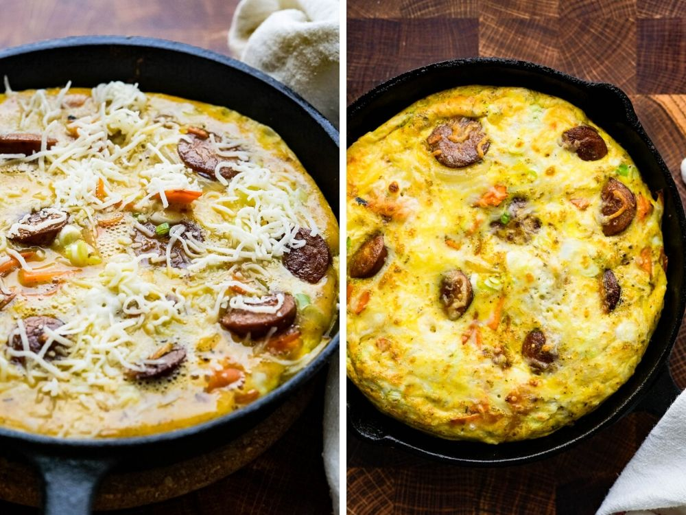 Sweet potato frittata after cooking on the stovetop (left) and oven(right)