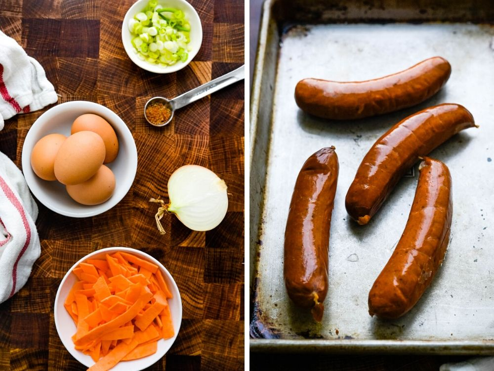 eggs, sweet potatoes and sausage links for andouille sausage recipe.