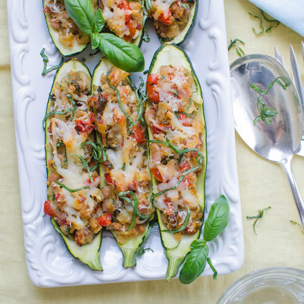 Stuffed Italian Zucchini Boats on a platter.