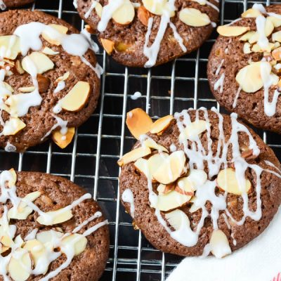 Mocha Almond Brickle Cookies with glaze