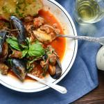 Mussels & Sausage in Wine Sauce | Garlic + Zest