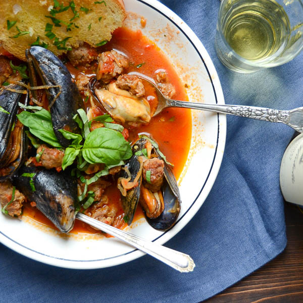 Mussels & Sausage in Wine Sauce | Garlic + Zest