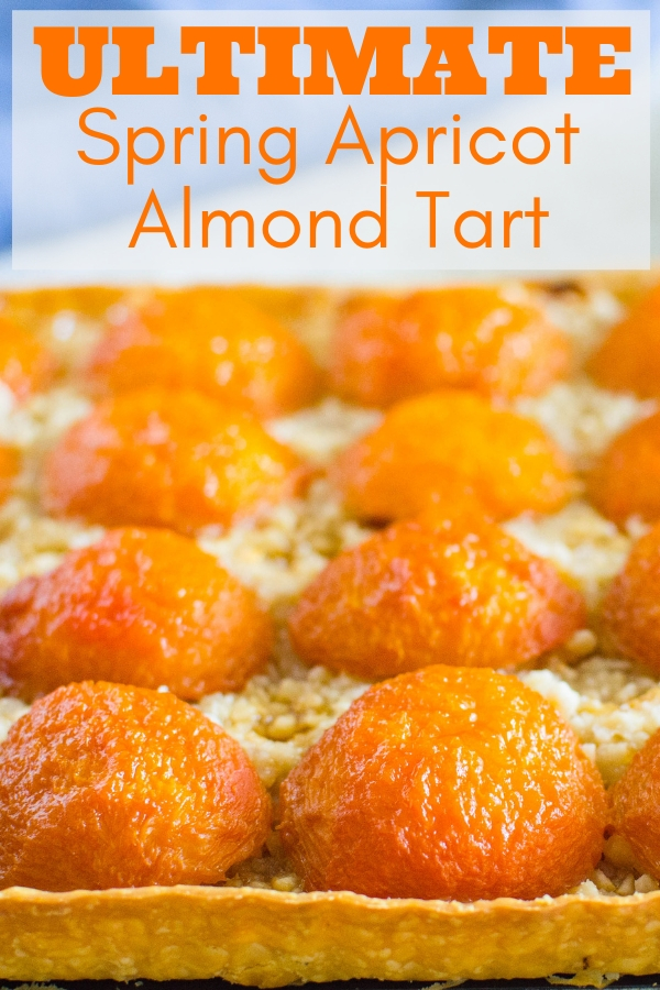 "Looking for a warm, cheery ""ultimate Spring-y dessert""? This Apricot Almond Tart is tangy, sweet and irresistible. Use fresh apricots for amazing results. #apricottart #apricotdessert #springdessert #easterdessert #mothersdaydessert"