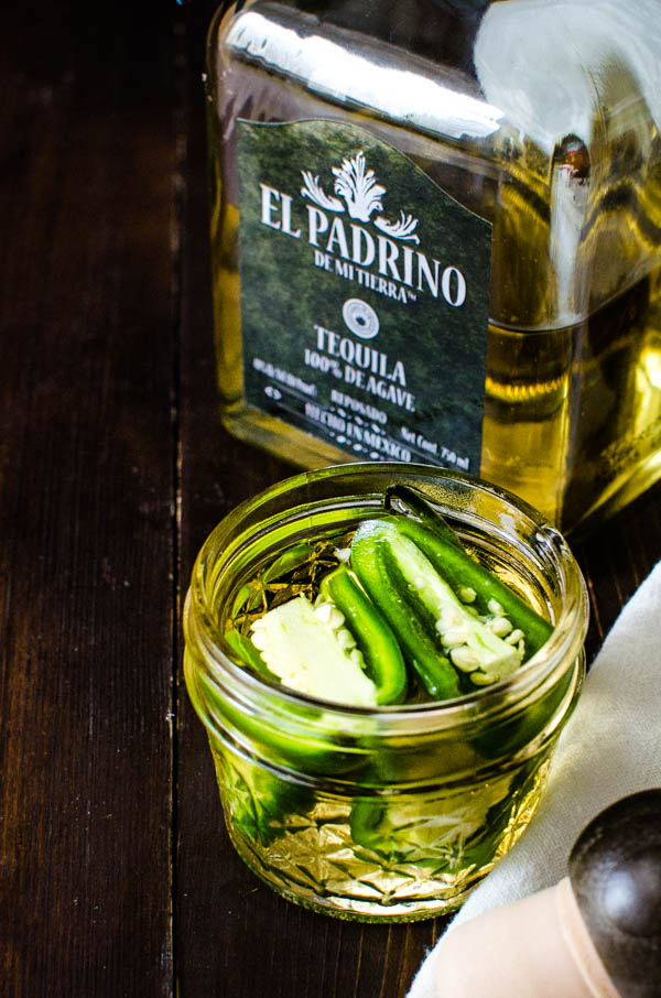 making jalapeno infused tequila for spicy margarita recipe