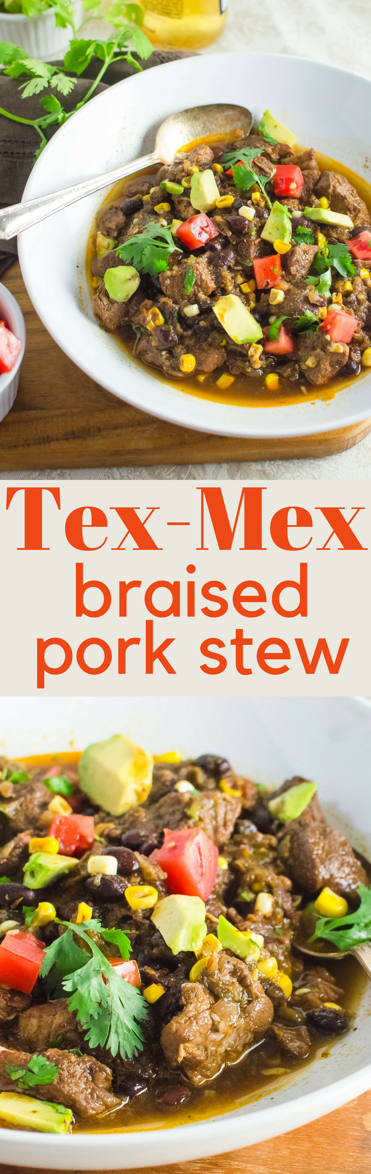 Need an easy meal that feeds a crowd? This hearty Tex-Mex Braised Pork Stew has hatch chiles, creamy black beans and fresh corn for a warm, homey meal.