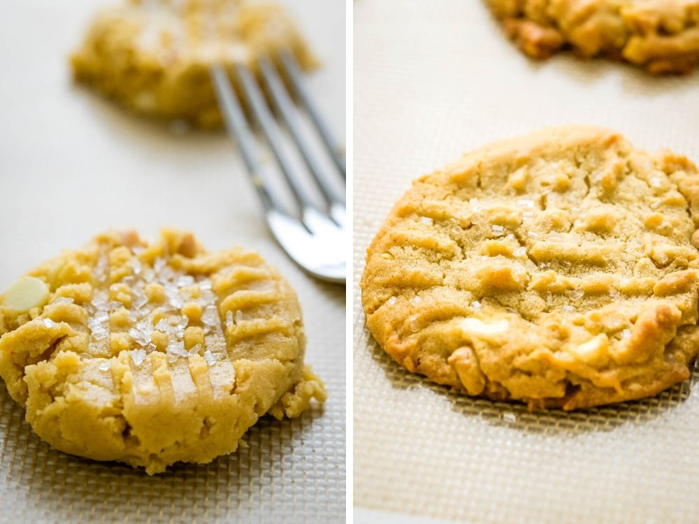 peanut butter white chocolate chip cookies before and after baking.