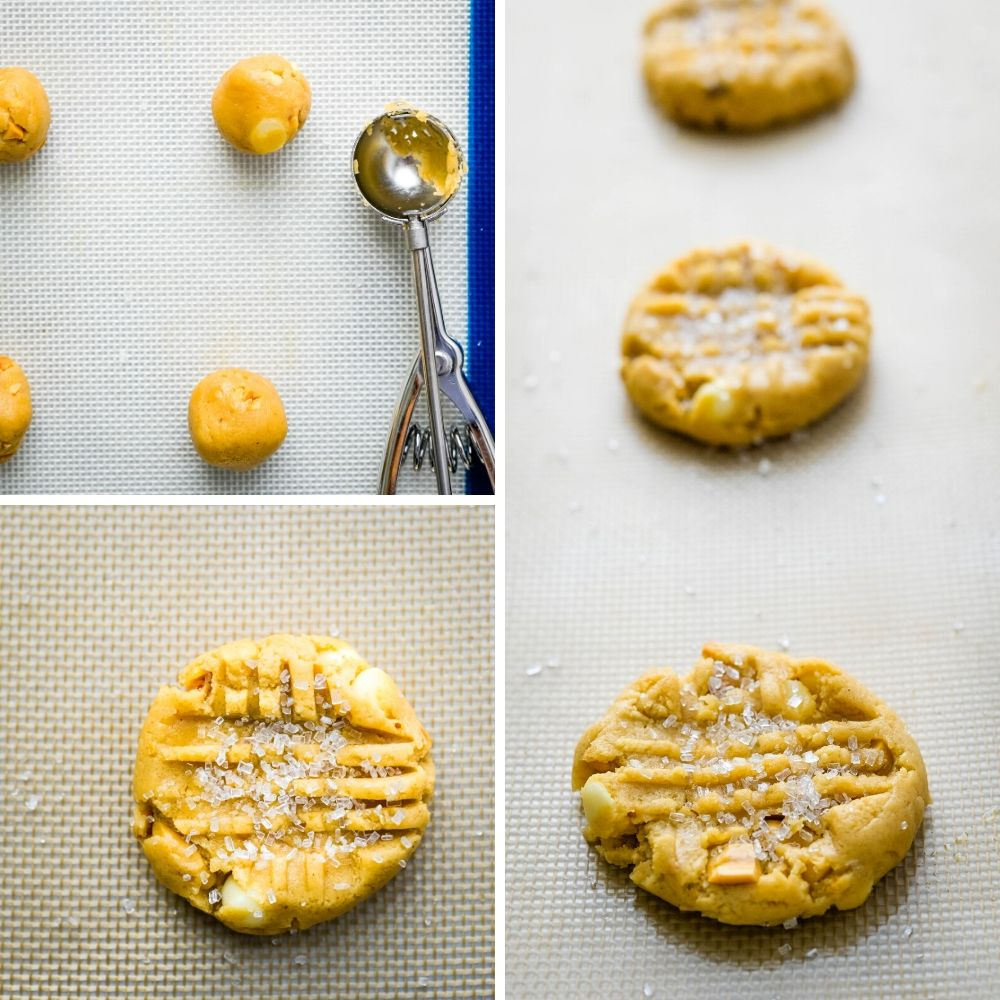 scooping, cross-hatching and sprinkling chunky peanut butter cookies with sparkling sugar.