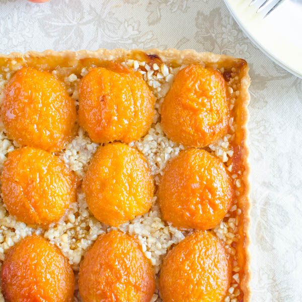 Apricot Almond Tart ready to serve.