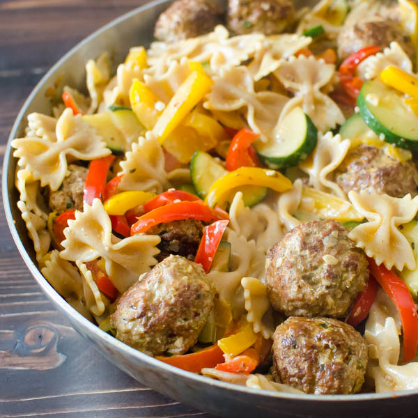 Cajun Meatballs and Pasta in a pan