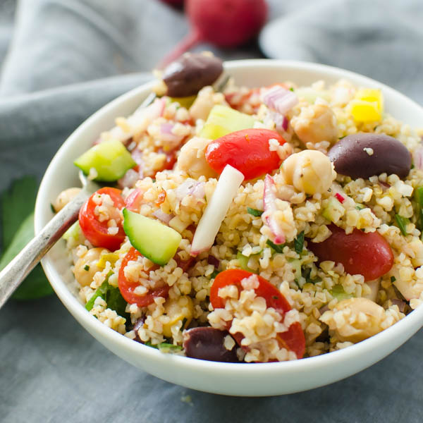 Mediterranean Cracked Wheat Salad | Garlic + Zest