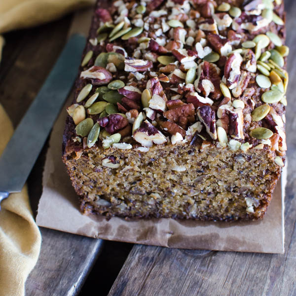 Gluten-Free Banana Coconut Bread with knife