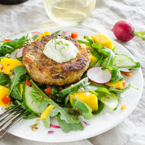 Key Lime Mango Crab Cake Salad | Garlic + Zest