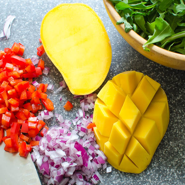 mango, bell pepper and onions