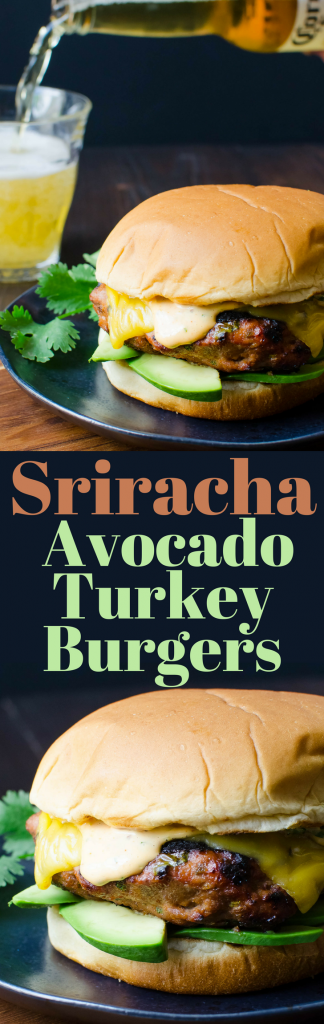 Use jarred sauce in this easy turkey burger recipe! Sriracha Avocado Turkey Burgers are juicy, meaty bites of heaven on a bun!