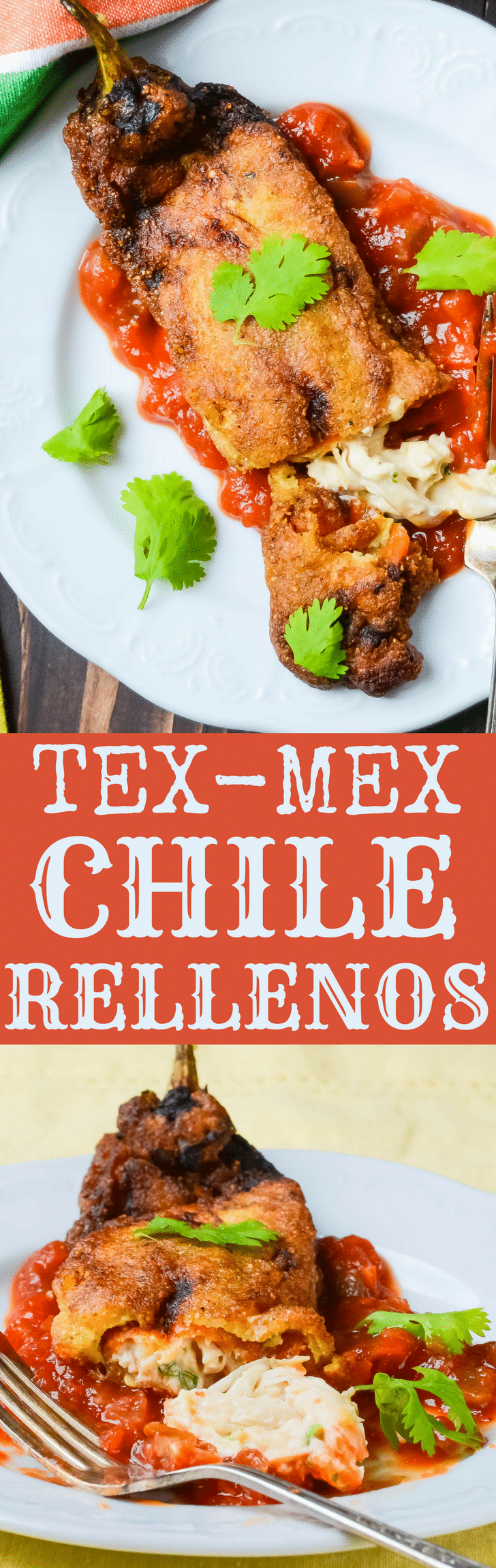 This stuffed chile rellenos recipe uses fire roasted hatch chiles and cheesy chicken filling with a simple chile relleno batter. Tex-Mex Chicken Chile Rellenos are crispy, tender and delicious. #chiles #chilerellenos #chilerellenosrecipe #chicken #stuffedpeppers #friedpeppers #friedchiles #texmex #cincodemayorecipes #stuffedfriedchiles #rellenos #cheese #creamcheese #cheddarcheese #chilerellenobatter #stuffedchilerellenosrecipe