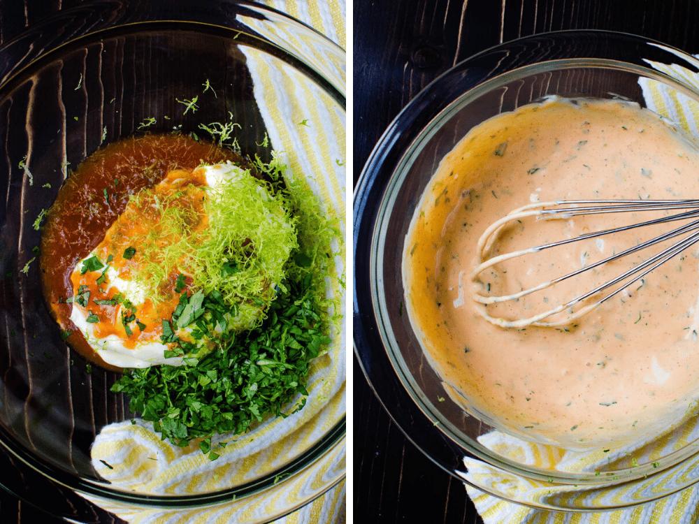 mixing sriracha mayo in a bowl.