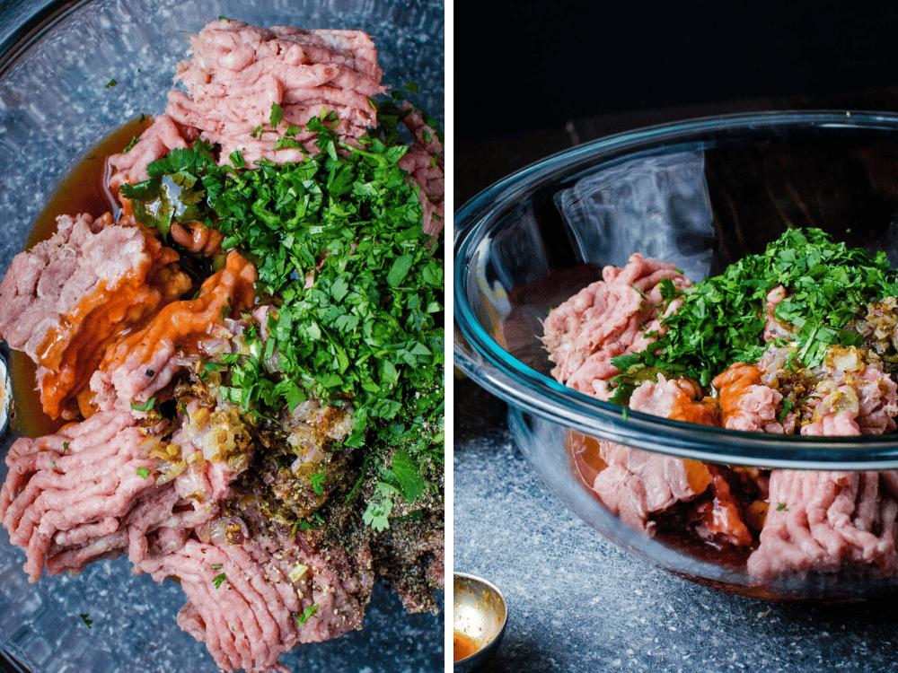 combining sriracha, shallots and cilantro for spicy turkey burger patties.