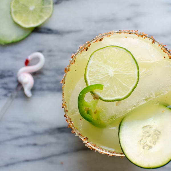 Spicy Cucumber Kiwi Margarita | Garlic + Zest