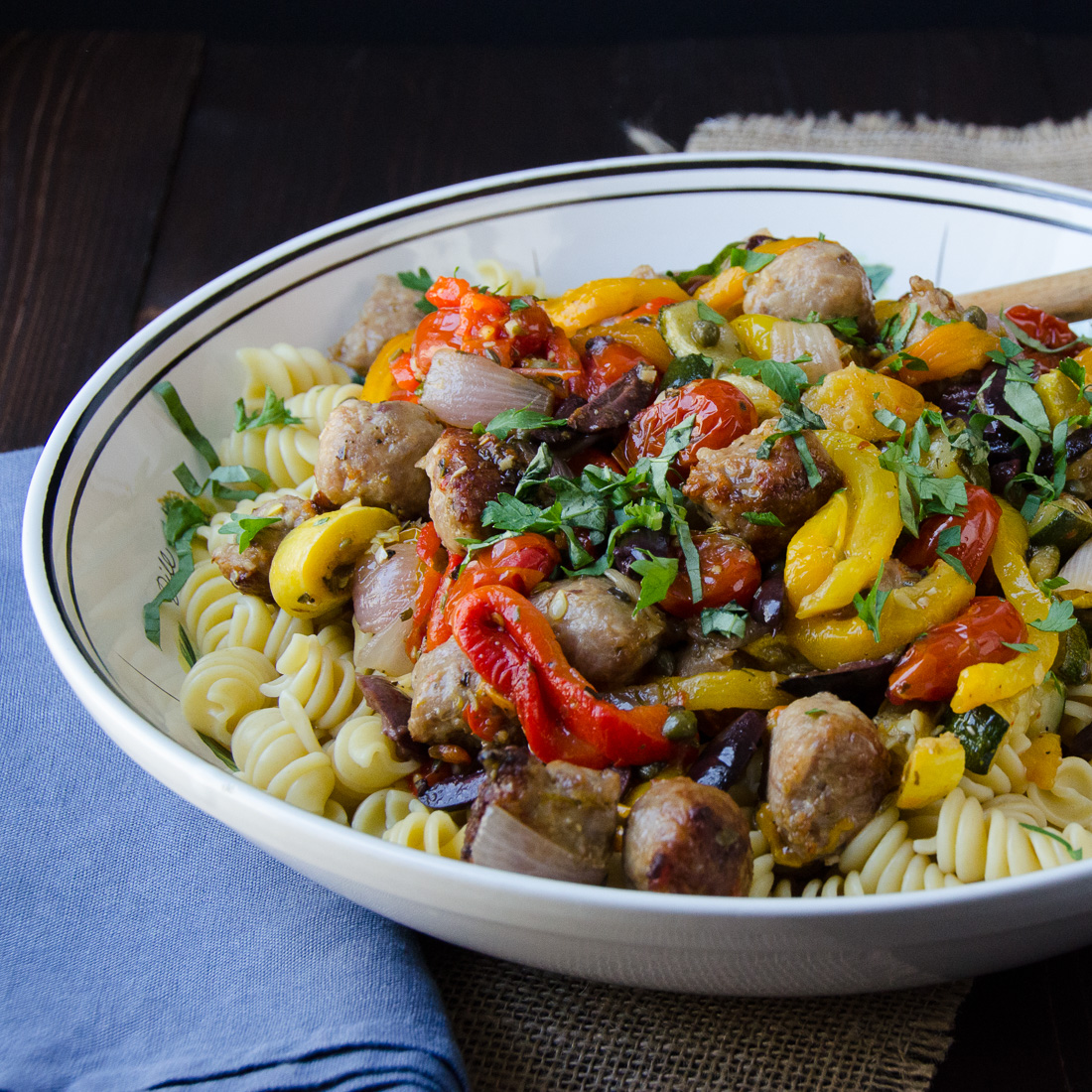 Roasted Italian Sausage, Veg and Pasta | Garlic + Zest