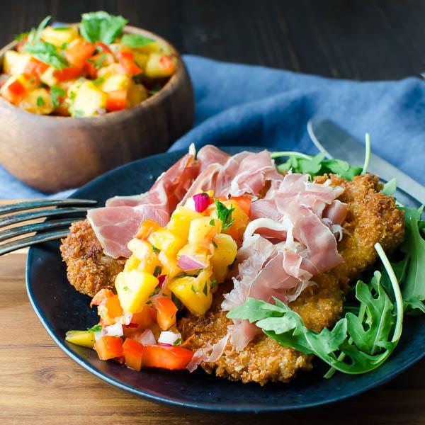 Crispy Pork Cutlets with Fresh Peach Salsa   Garlic + Zest