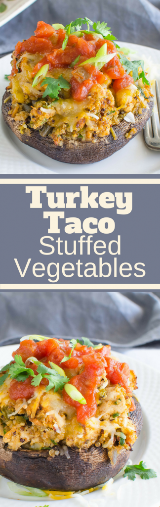 Need an easy healthy dinner recipe that everyone will love? Turkey Taco Stuffed Vegetables w/quinoa are topped with salsa and your favorite taco toppings. #groundturkey, #portobellomushrooms, #mushrooms, #peppers, #taco, #healthydinner, #stuffedvegetables, #quinoa, #healthyfood
