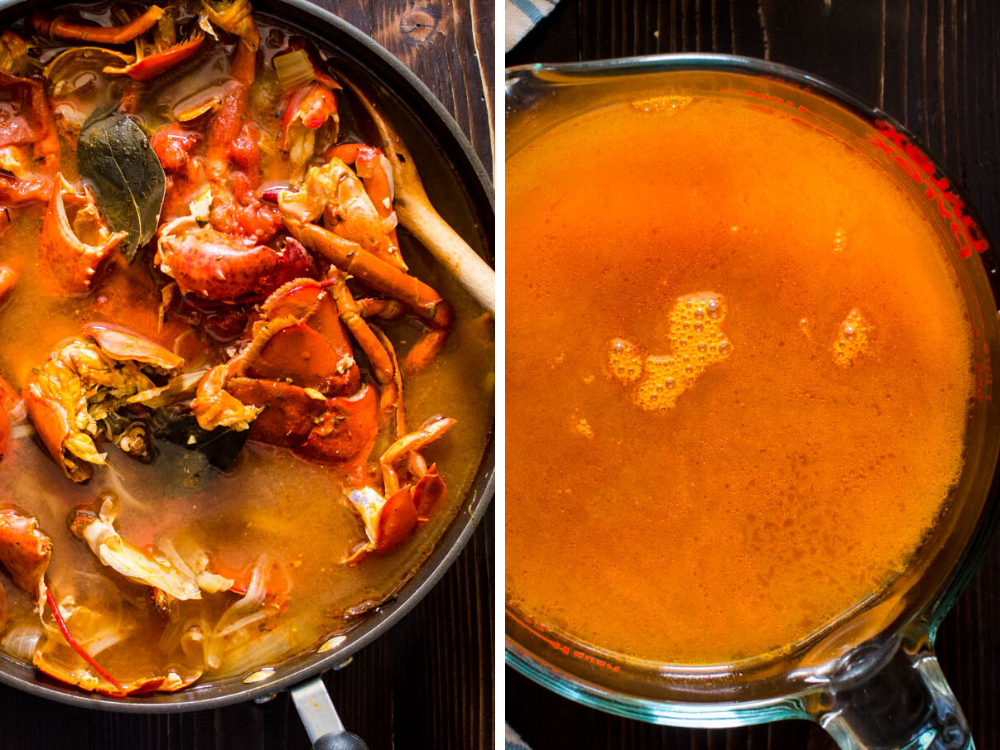 making lobster stock for the seafood mac and cheese