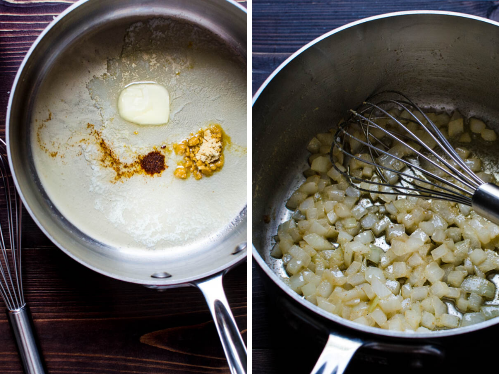 Making the roux and sautéing onions for cheesy lobster casserole.