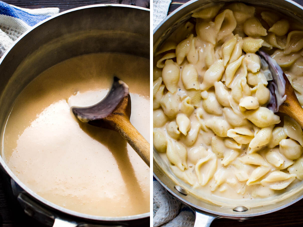 Stirring the seafood béchamel and adding shell pasta for the mac and cheese casserole.