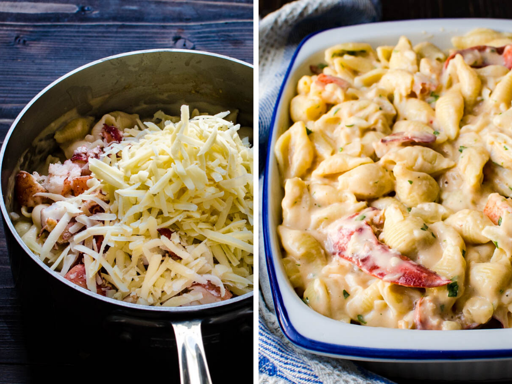 adding gruyere cheese and lobster to the pasta and adding to a casserole dish for the ultimate lobster mac n cheese.