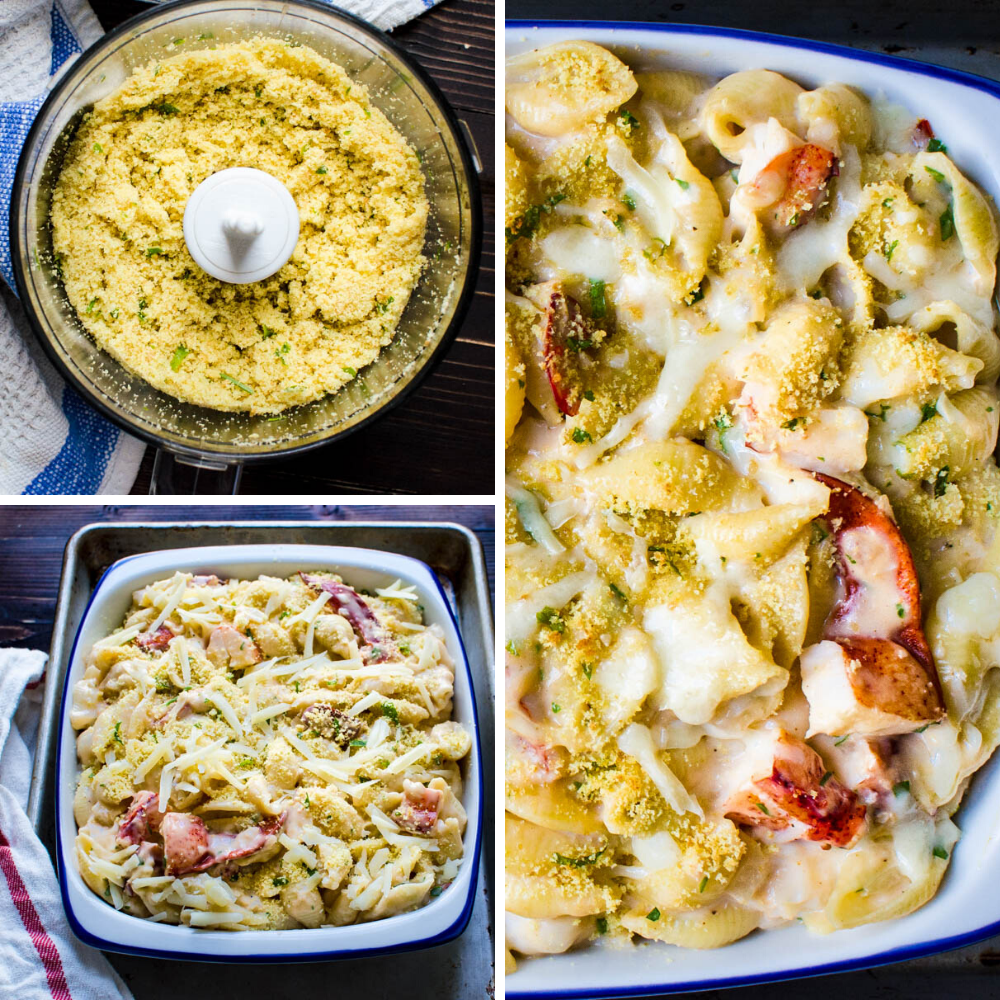 topping lobster casserole with fresh breadcrumbs to bake.