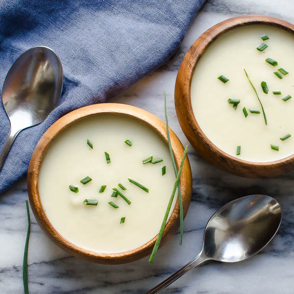 two bowls of Chilled Vidalia Onion Soup