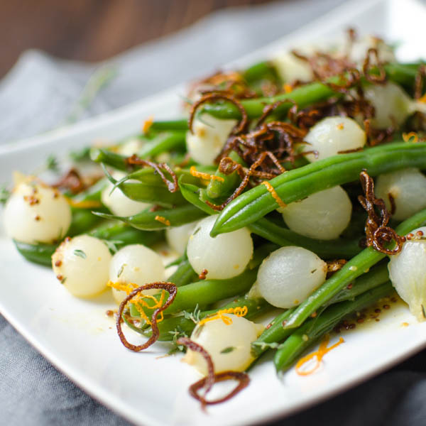 Orange Dijon Haricot Verts with Crispy Shallots