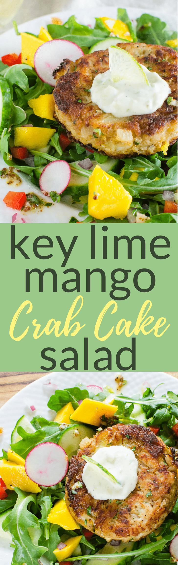 Want the BEST crab cake salad recipe?  Key Lime Mango Crab Cake Salad w/ tropical key lime dressing, chunks of mango and crunchy veg. Like an island vacation! #crab #crabcake #crabcakesalad #salad #tropicalsalad #mangoes #keylime #keylimedressing #easysaladrecipe #seafoodsaladrecipe #keylime #citrusdressing #homemadecrabcakes #bestcrabcakesalad #lowcarbsalad