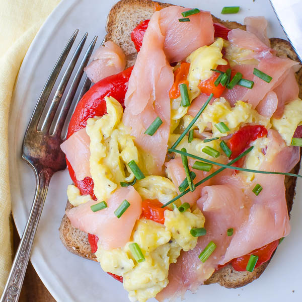Open-Faced Salmon Pepper Scramble