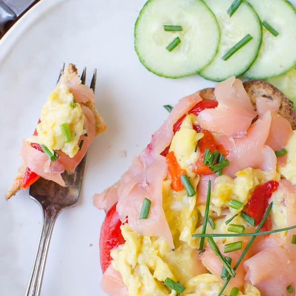 Open-Faced Salmon Pepper Scramble | Garlic + Zest