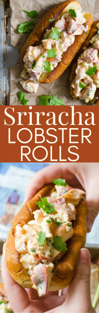 Want a twist on a lobster roll sandwich? Sriracha Lobster Rolls take the authentic lobster roll recipe to a new high! With instructions on how to cook a live lobster and mix up a spicier New England roll. #lobsterroll #newenglandlobsterroll #lobster #howtocooklobster #sandwich #newenglandpatriots #authenticlobsterrolls #sriracha #srirachamayonnaise #lobsterrollrecipe #