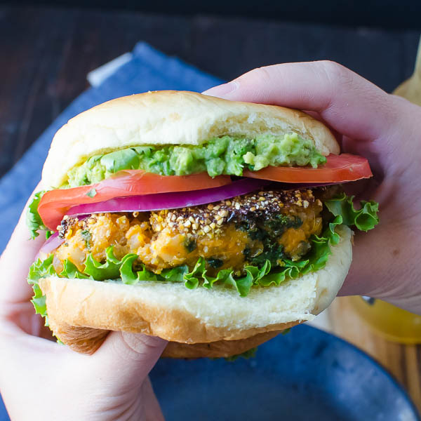 Cornmeal Crusted Veggie Burgers | Garlic + Zest