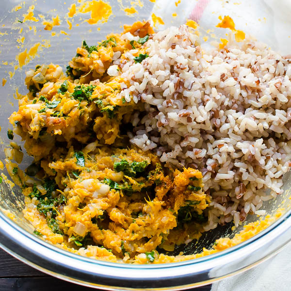 rice, sweet potato and kale