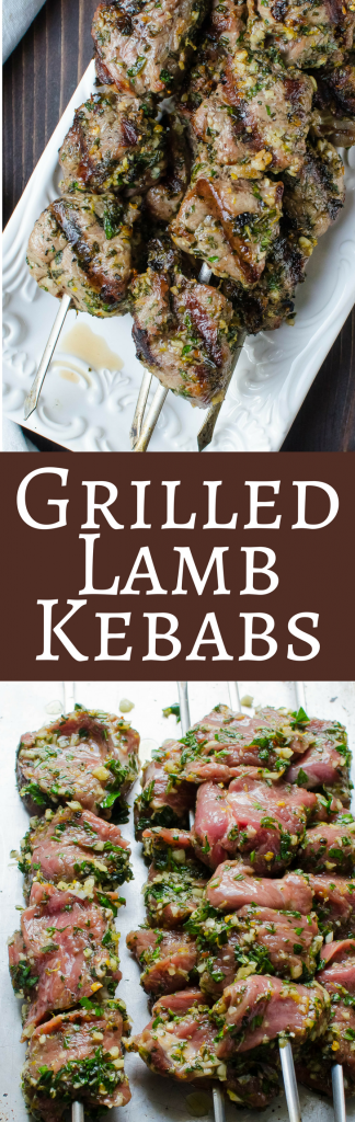 This outrageously simple lamb kebab marinade packs a ton of flavor into these kebabs. Grilled Herb Crusted Lamb Kebabs marinate overnight to infuse the lamb with garlic and herbs. Perfect for summer grilling, herb crusted lamb goes great with whole grain salads for a healthy grilled dinner. #lamb #lambkebabs #herbmarinade #herbcrustedlamb #grilledlamb #healthylambdinner #lambmarinaderecipe #lambrecipe