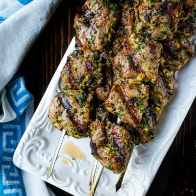 Grilled Herb-Crusted Lamb Kebabs