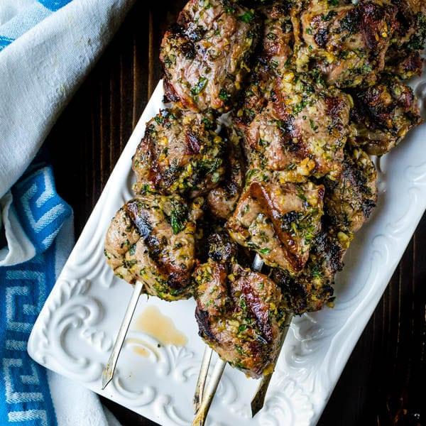 Grilled Herb Crusted Lamb Kebabs